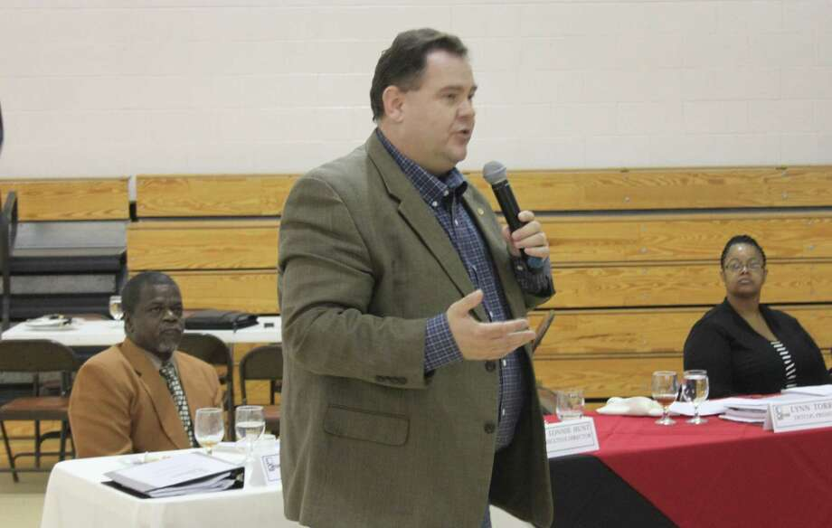 Jasper County Judge Mark Allen expresses how his county as well as San Jacinto County and Sabine County simply wish to have their fair share of the distributed funds to improve their respective infrastructures in the wake of the damage from Hurricane Ike. Photo: Jacob McAdams / Jacob McAdams