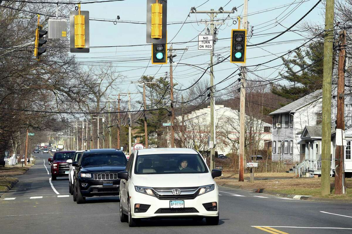 Traffic flows on Middletown Avenue at the intersection of Cross Street in New Haven on February 24, 2020 near where a pedestrian was killed on February 23, 2020.