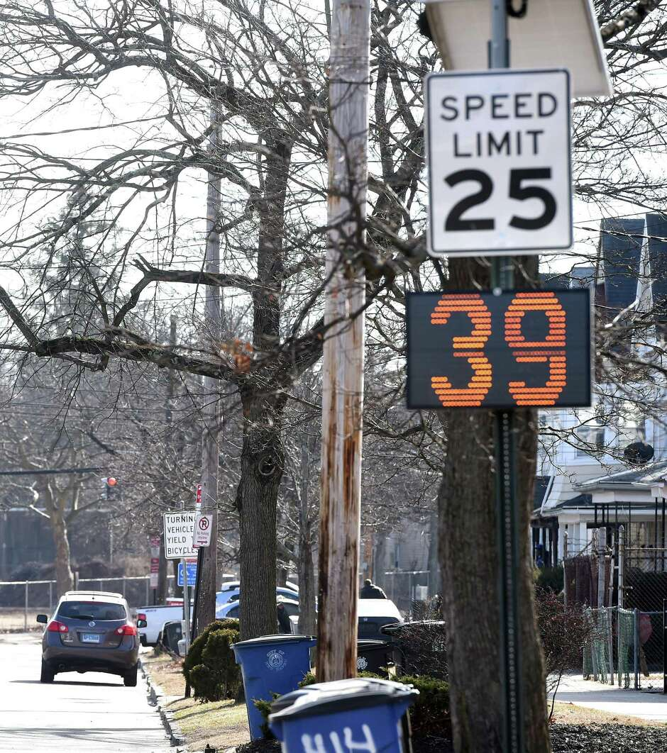 An electronic speed sign displays a vehicles speed on Dixwell Avenue between Argyle Street and Gibbs Street in New Haven on February 24, 2020 near where a pedestrian was hit on February 23, 2020.
