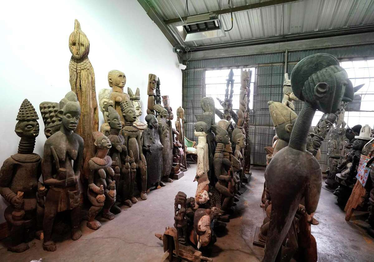 A view of some of the pieces of African art being stored at the Harris County Reed Road Warehouse by Precinct 1 Commissioner Rodney Ellis is shown Monday, Feb. 24, 2020, in Houston.