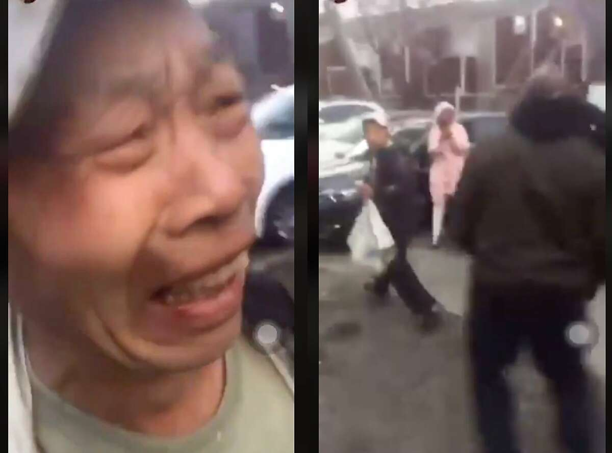 A screengrab of a video posted by @nicholaaaslisocial on Feb. 23, 2020 of an attack on a man in San Francisco's Bayview neighborhood. San Francisco police are investigating the attack