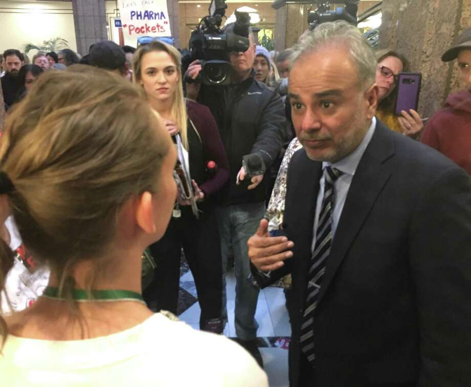 Sen. Saud Anwar, a proponent of the bill repealing the religious exemption from mandatory vaccinations, speaks to opponents of the bill. Photo: Dan Haar