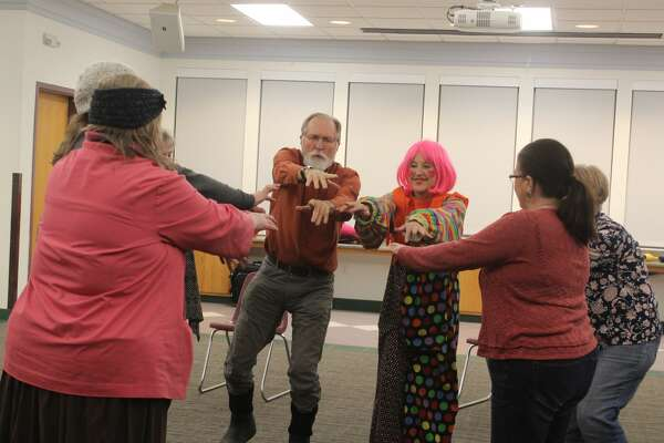 Locals interested in the art of clowning had the chance to learn from a professional Monday night at the Festival of the Arts' Circus Arts Demo and Workshop. With instruction from professional entertainer, Kate McGlynn - also known as Bee Bee Clown - area residents gathered at the West Campus Community Center, 1414 Family Dr., Big Rapids, to learn a variety of clowning tips and tricks. Guests learned about popular props used during shows, the best ways to engage a crowd, how to create clown personas and more. McGlynn began her circus career in Europe and has since traveled the world to assist others in spreading joy and laughter to others through clowning.