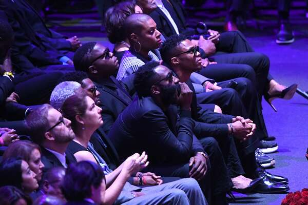 James Harden and Russell Westbrook attend The Celebration of Life for Kobe & Gianna Bryant at Staples Center on February 24, 2020 in Los Angeles, California. (Photo by Kevork Djansezian/Getty Images)
