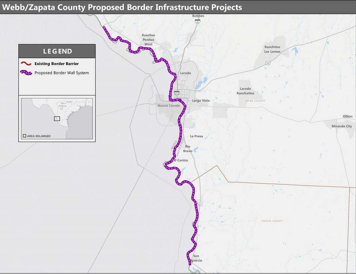 El mapa muestra la alineación propuesta para el muro fronterizo en los condados de Webb y Zapata, que recorrería 69 millas desde el Puente Solidaridad Colombia hasta San Ygnacio.
