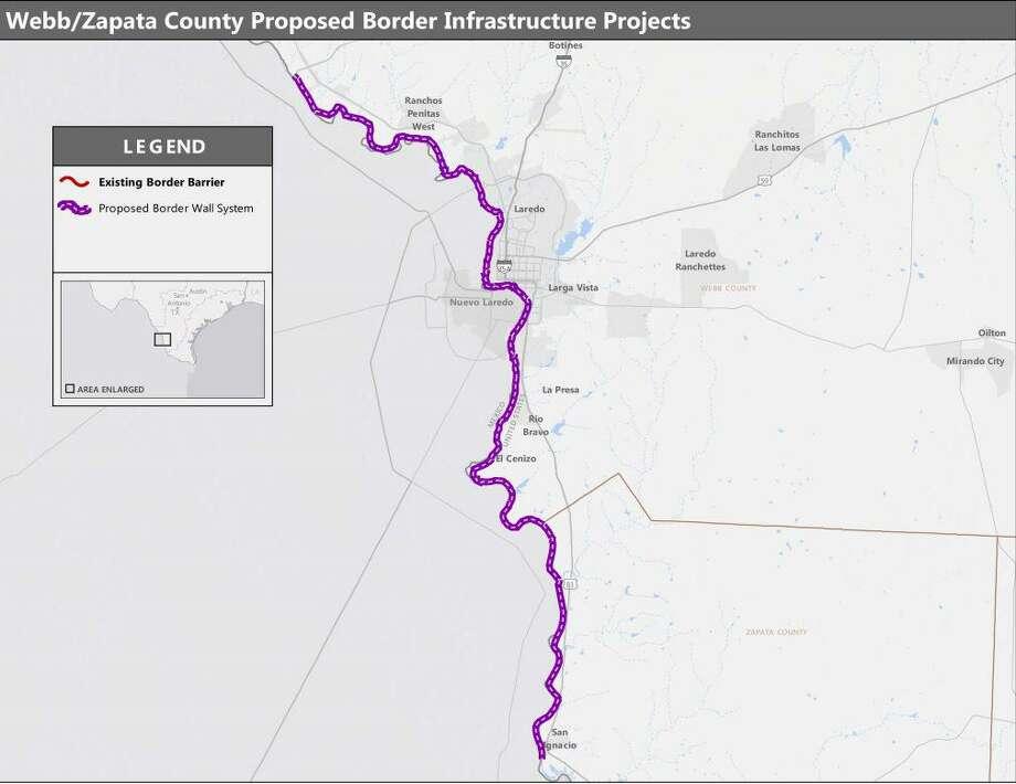 El mapa muestra la alineación propuesta para el muro fronterizo en los condados de Webb y Zapata, que recorrería 69 millas desde el Puente Solidaridad Colombia hasta San Ygnacio. Photo: Courtesy /U.S. Customs And Border Protection