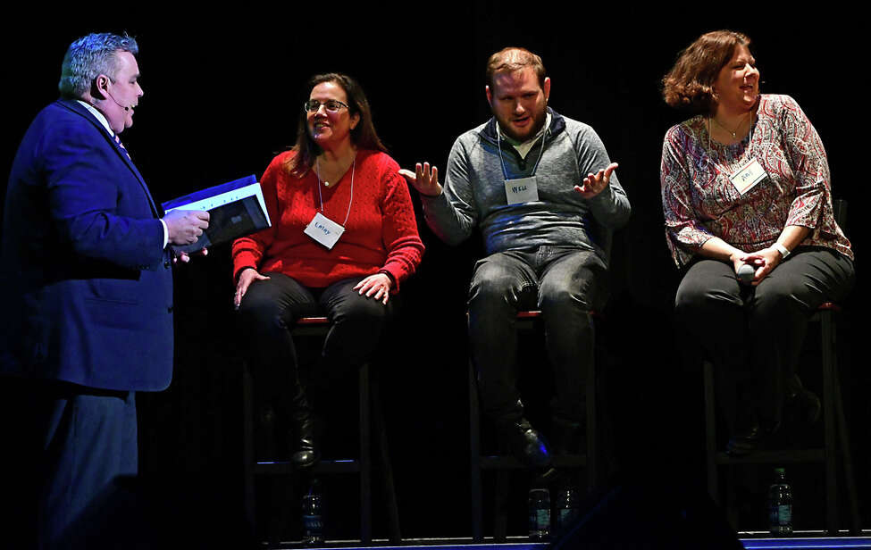 News 10 anchor John Gray, left, has fun with members of the audience in a game show themed celebration as Proctors and Capital Repertory Theatre announce their 2020-2021 season offerings in their annual bash at Proctors on Monday, Feb. 24, 2020 in Schenectady, N.Y. (Lori Van Buren/Times Union)
