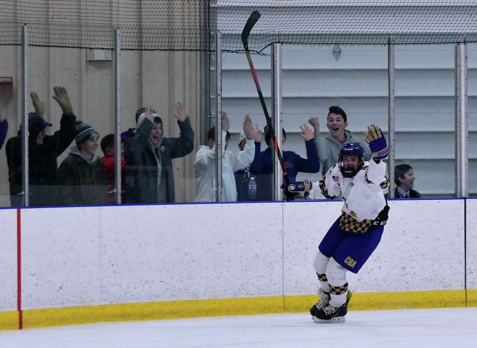 CBA's Carson Curran celebrates his game-winning goal against La Salle on Senior Night. (Courtesy of Loni Herman)