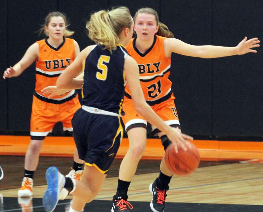 The Ubly girls basketball team improved to 18-1 on the season with a 58-32 home win over Bad Axe on Monday night. Photo: Mark Birdsall/Huron Daily Tribune