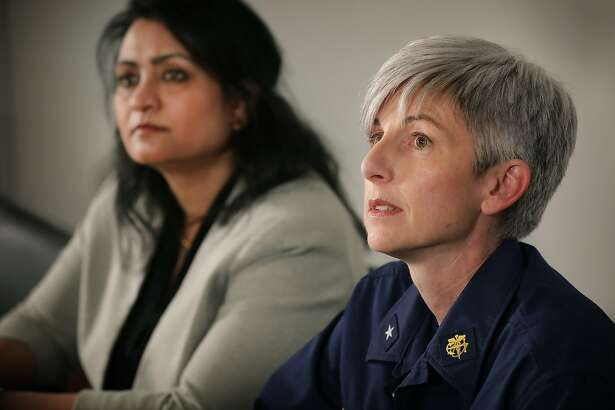 Rear Admiral Dr. Nancy Knight, right, from the CDC and Dr. Anita Kurian of the City of San Antonio Metropolitan Health Assistant Director of Communicable Disease answers questions about the coronavirus and those that are in quarantine at Joint Base San Antonio-Lackland.
