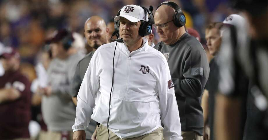 Texas A&M coach Jimbo Fisher walks along the sideline during the first half of the team's NCAA college football game against Texas A&M in Baton Rouge, La., Saturday, Nov. 30, 2019. LSU won 50-7. (AP Photo/Gerald Herbert) Photo: Gerald Herbert/Associated Press