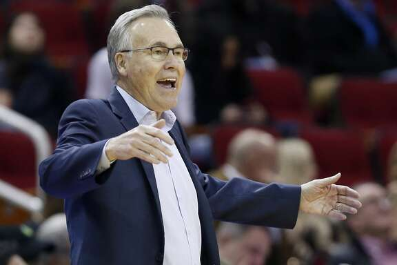 Houston Rockets head coach Mike D'Antoni argues a call during the first half of an NBA basketball game against the New York Knicks on Monday, Feb. 24, 2020, at Toyota Center in Houston.