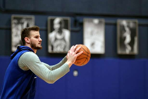 New Warrior center Dragan Bedner during practice at Chase Arena in San Francisco, Calif., on Monday, February 24, 2020.