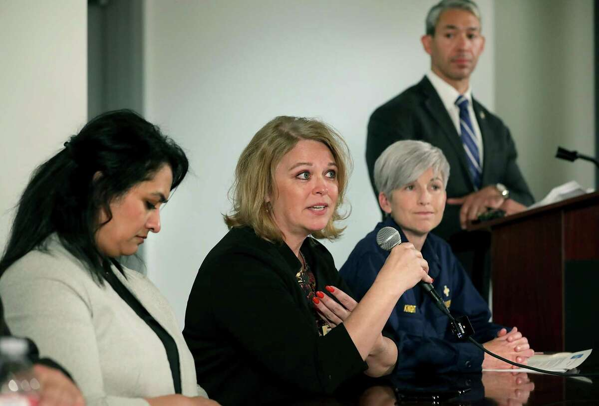 Dawn Emerick, center, director of Metro Health in San Antonio, answers questions with Anita Kurian, left, Metro Health's assistant director of communicable disease, and Rear Adm. Nancy Knight, right, with the Centers for Disease Control and Prevention, about the coronavirus and the 144 people from a cruise ship who were brought to Joint Base San Antonio-Lackland for quarantine. Five from the ship have contracted the virus and are hospitalized.