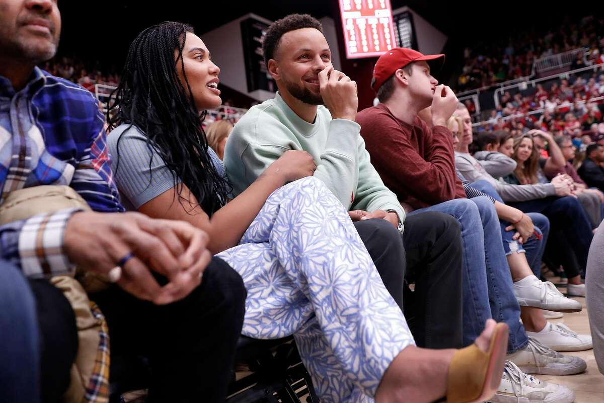 Ayesha and Stephen Curry watch Stanford play Oregon during Ducks' 74-66 win in Pac 12 women's basketball game at Maples Pavilion in Stanford, Calif., on Monday, February 24, 2020.