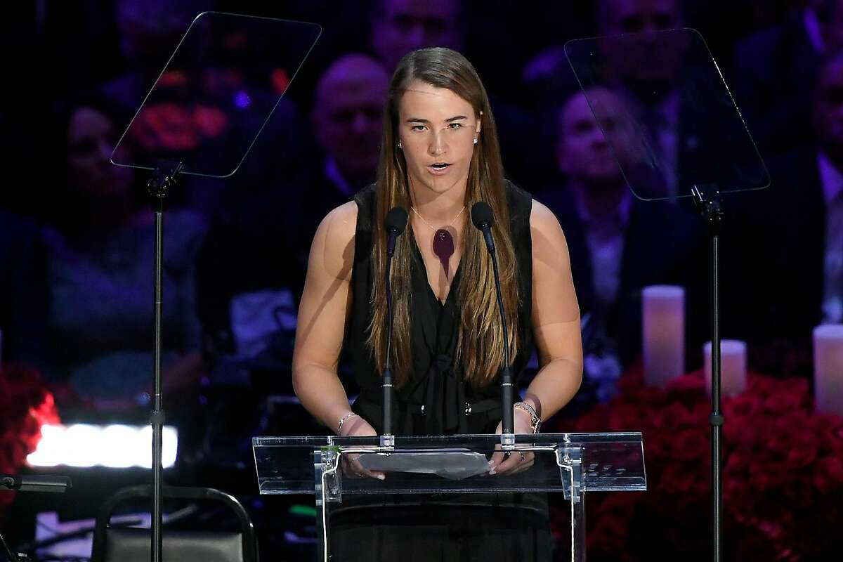 LOS ANGELES, CALIFORNIA - FEBRUARY 24: Sabrina Ionescu speaks during The Celebration of Life for Kobe & Gianna Bryant at Staples Center on February 24, 2020 in Los Angeles, California. (Photo by Kevork Djansezian/Getty Images)