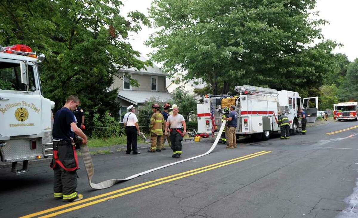 The Belltown Fire Department responds to a structure fire at 181 Toms Road late Monday afternoon, August 16, 2010. Belltown Fire Chief John Didelot said the fire appeared to be electrical starting in the kitchen near the stove damaging the surrounding cabinets. Although most of the damage was internal and due to smoke the gas and electricity feeding the building had to be cut resulting in the residents being displaced. There were no injuries. Stamford Fire and Rescue and Turn of the River were also on the scene.