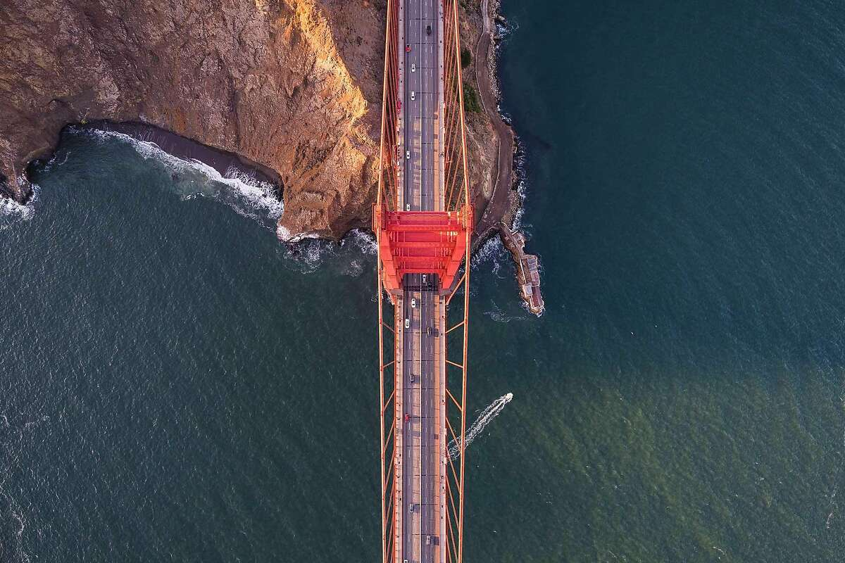 An aerial photo taken legally from a helicopter of the Golden Gate Bridge. Numerous drones have taken illegal photos from a similar angle.
