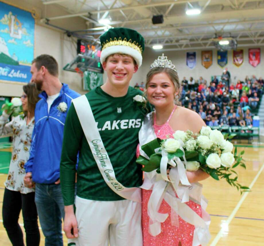 During the Laker Coming Home pep assembly Feb. 21, Hunter Keim was crowned as the Coming Home Prince. A few hours later during halftime of the varsity game, Madisyn Wisenbaugh was crowned as the Coming Home Princess. Hunter is the son of Brian and Lisa Keim, and Madisyn is the daughter of Brian and Malissa Wisenbaugh.