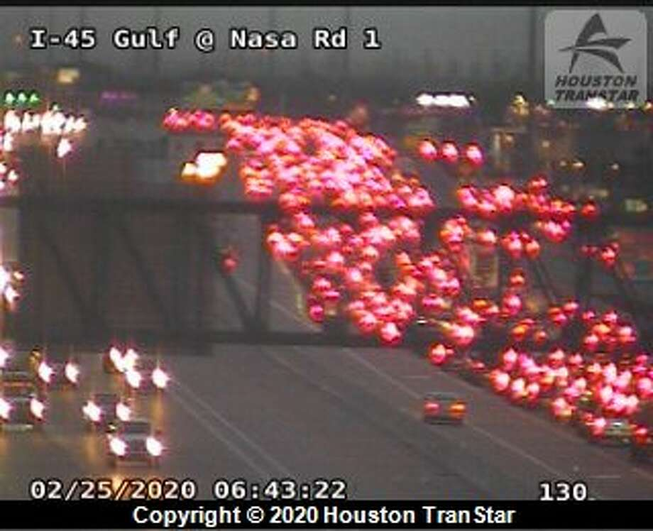 Traffic is backed up on the Gulf Freeway on Tuesday, Feb. 25, 2020. Photo: Houston TranStar