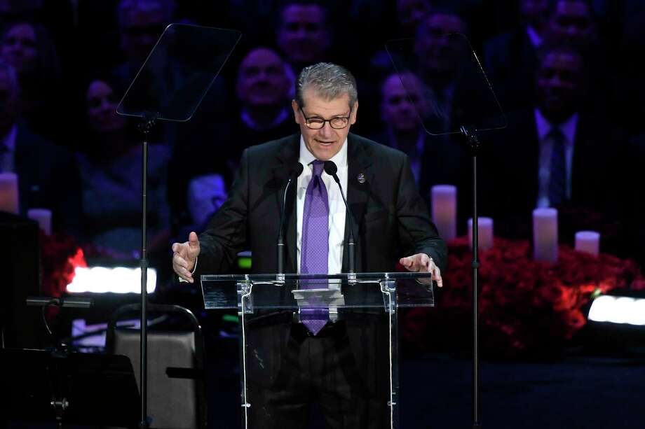 Geno Auriemma speaks during The Celebration of Life for Kobe & Gianna Bryant at Staples Center on February 24, 2020 in Los Angeles. Photo: Kevork Djansezian / Getty Images / 2020 Getty Images