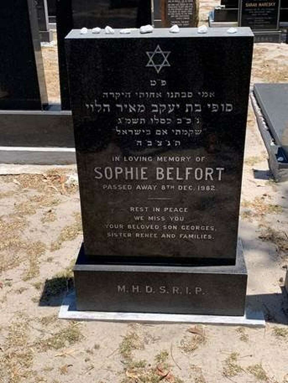 Gravestone of Georges Belfort's mother, Sophie Belfort, who fled the Holocaust, in Pinelands Jewish Cemetery in Cape Town, South Africa.