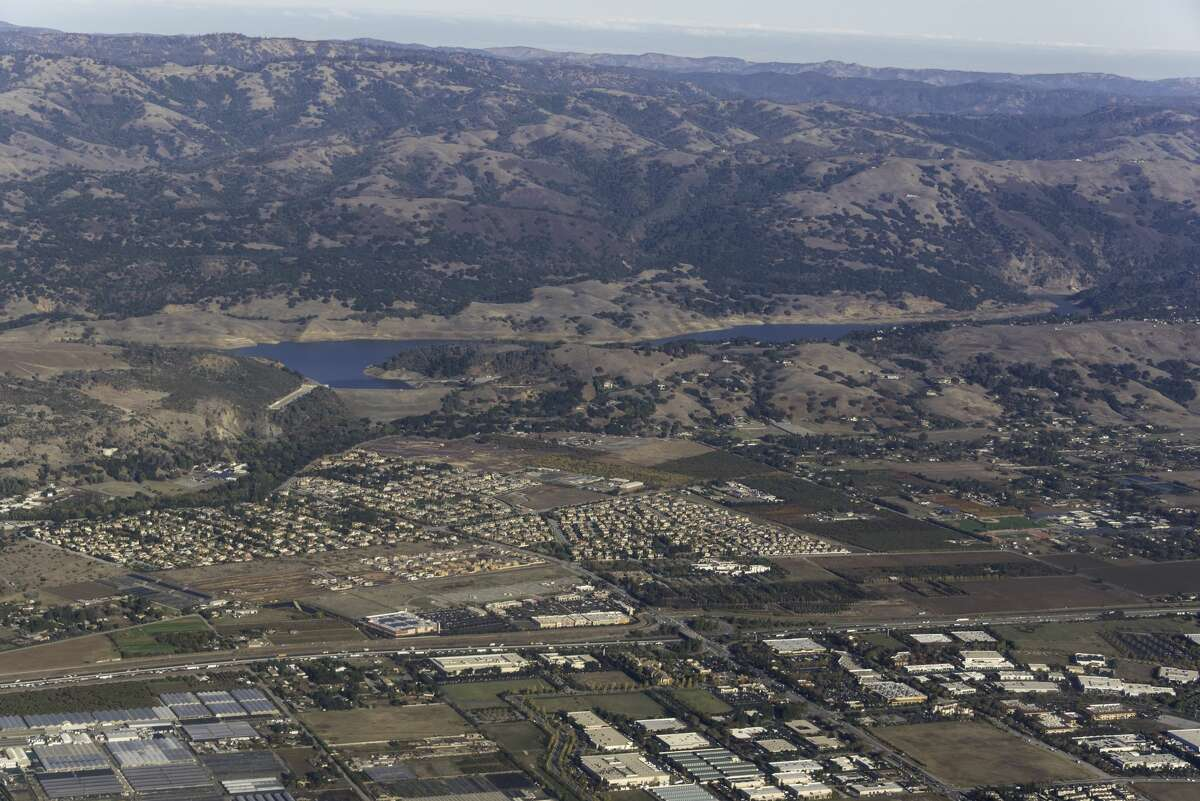 The town of Morgan Hill seen at the base of Anderson Dam.