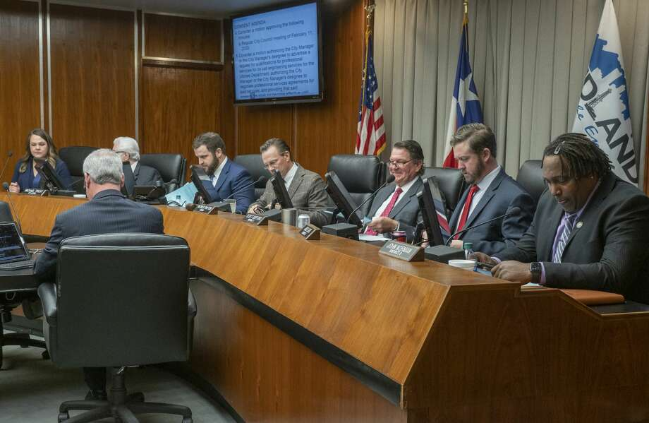 Midland City Council seats a full council 02/25/2020 with Lori Blong, Michael Trost, Spencer Robnet, Mayor Patrick Payton, Scott Dufford, Jack Ladd and John Norman . Tim Fischer/Reporter-Telegram Photo: Tim Fischer/Midland Reporter-Telegram