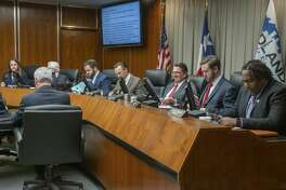 Midland City Council seats a full council 02/25/2020 with Lori Blong, Michael Trost, Spencer Robnet, Mayor Patrick Payton, Scott Dufford, Jack Ladd and John Norman . Tim Fischer/Reporter-Telegram