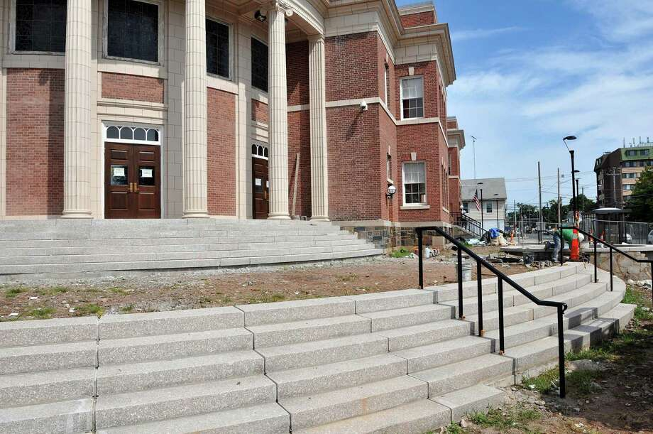 The front steps of town hall in Hamden under construction in 2012. Photo: File Photo