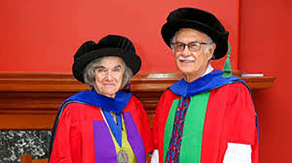 Marlene Belfort, left, a University at Albany professor, and her husband, Georges Belfort, a Rensselaer Polytechnic Institute professor, received dual honorary degrees from their alma mater, the University of Cape Town in South Africa in December 2019.