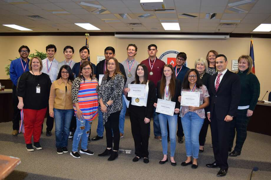 Members of the Business Professionals of America team are recognized during a recent Plainview ISD School Board meeting Thursday. Photo: Ellysa Harris/Plainview Herald