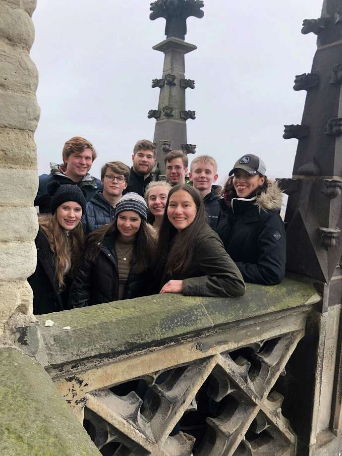 The New Canaan High School students who attended the Model United Nations in The Hague were from left to right Helen Culpepper, Aidan Smith, Dan Tierney, Andrew Zuo, Peter Mason, Garrett Ladley, Hannah Swimm, Andrew Morse, Valentina Zamora, Alexa Madrid, Elizabeth Dolan and Isabelle Fernandez. They were in the Netherlands in January 2020. Being taught by mostly white educators has shortchanged the education of students from New Canaan, say alumni from the high school, after they entered a multicultural and diverse world when they left home. Zamora spoke about the issue at the town Board of Education's virtual online meeting Monday, June 15. Other alumni, and students of the high school also spoke about the issue. Photo: New Canaan High School / Contributed Photo