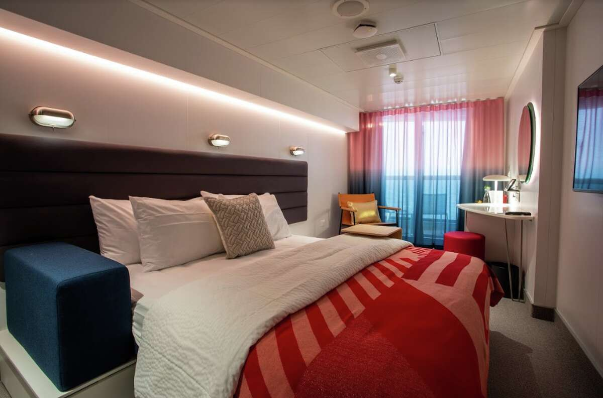 Stateroom onboard Virgin Voyages new Scarlet Lady, which sets sail in April 2020.