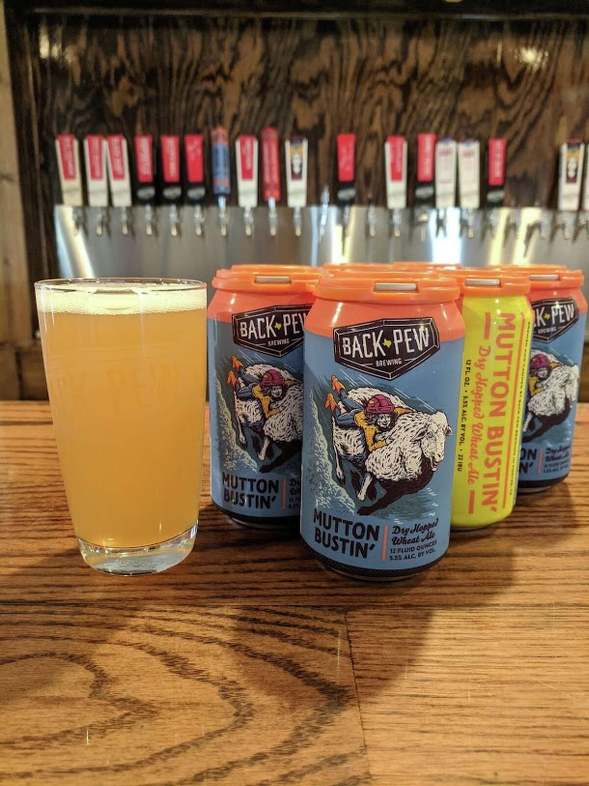 Back Pew Brewing in Porter, TX canned Mutton Bustin' beer just in time for the Houston Rodeo.