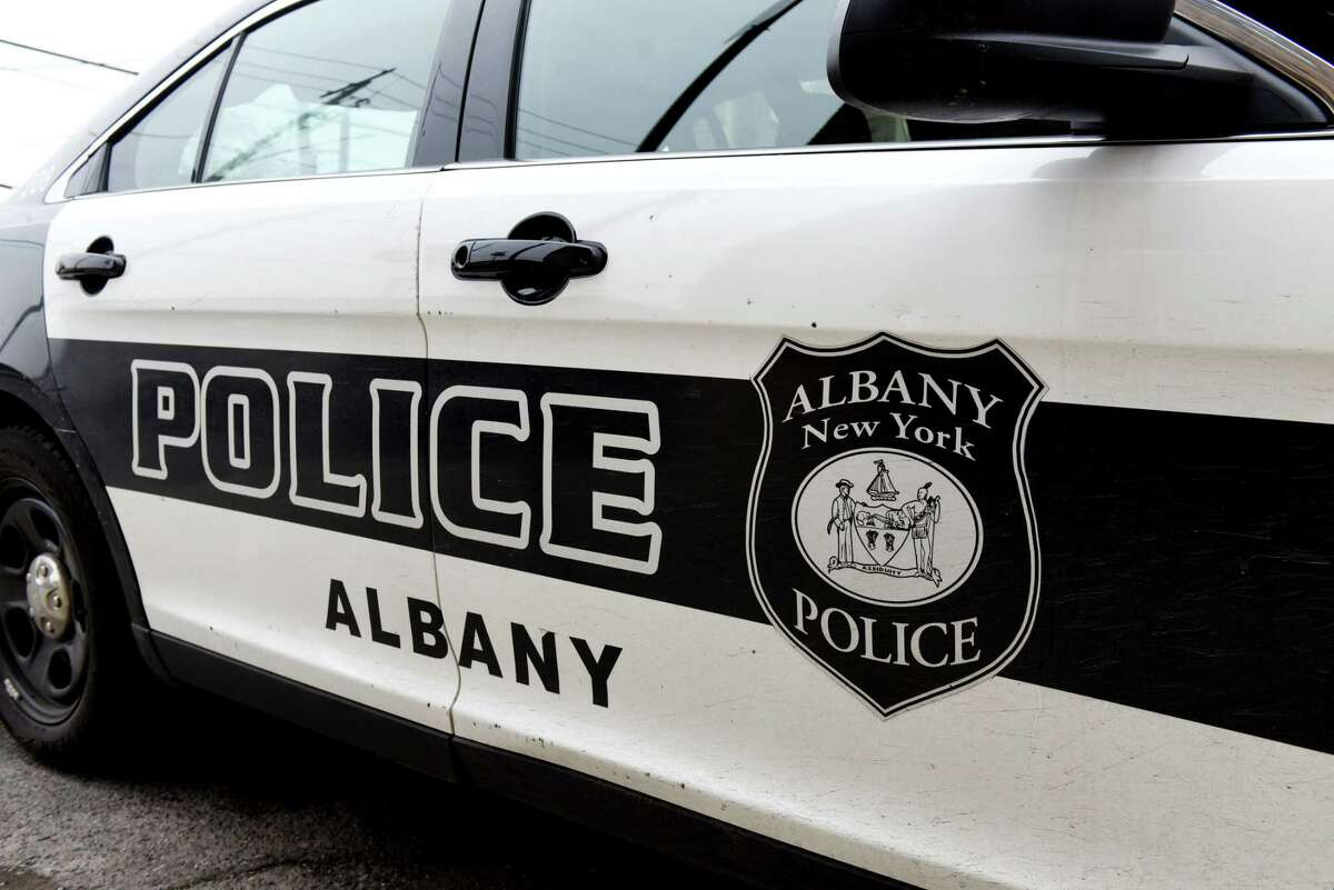 An Albany Police Department car is parked outside the South Station on Tuesday, Feb. 25, 2020, in Albany, N.Y. (Will Waldron/Times Union)