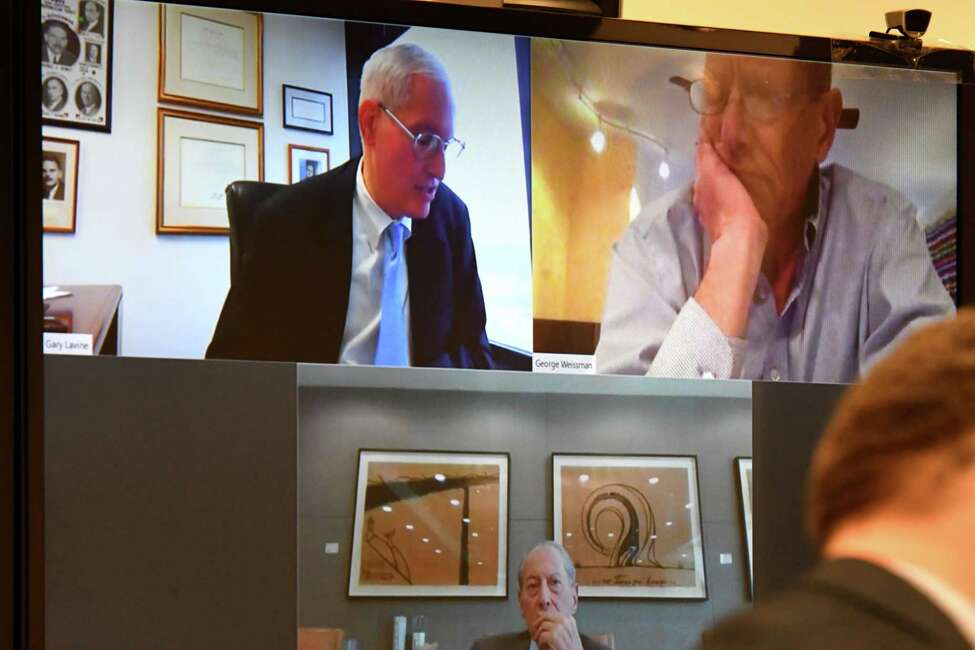 New York State Joint Commission on Public Ethics Commissioner, Gary Lavine, upper left, addresses commission members via teleconference during a meeting on Tuesday, Feb. 25, 2020, in Albany, N.Y. (Will Waldron/Times Union)