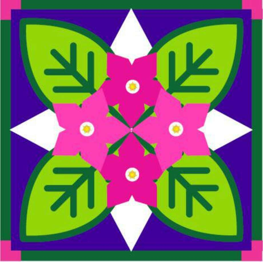 A barn quilt design of vivid pinks, purples, Nicotiana flowers and green tobacco leaves were created for the weathered antique tobacco barn with intact aerating louvers at the beginning Dorwin Hill Road and Route 67 in New Milford. The barn quilt, which will be part of a soon-to-be expanded New Milford Barn Quilt Trail, was created for the Couillard family, who owns the barn, pro bono by Kat-Art of New Milford. Photo: Courtesy Of New Milford Barn Quilt Trail Committee / The News-Times Contributed
