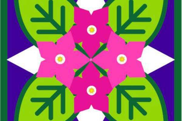 A barn quilt design of vivid pinks, purples, Nicotiana flowers and green tobacco leaves were created for the weathered antique tobacco barn with intact aerating louvers at the beginning Dorwin Hill Road and Route 67 in New Milford. The barn quilt, which will be part of a soon-to-be expanded New Milford Barn Quilt Trail, was created for the Couillard family, who owns the barn, pro bono by Kat-Art of New Milford.