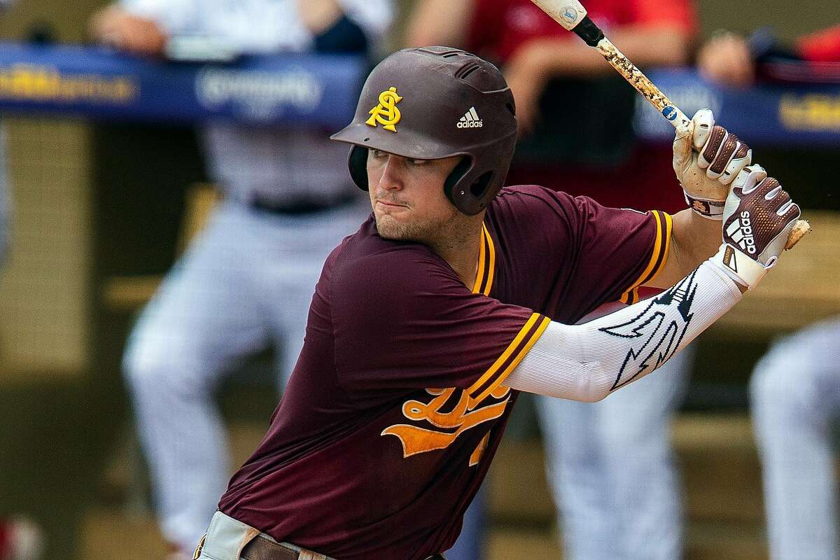 Arizona State Sun Devils outfielder Hunter Bishop (4) bats during a game between the Arizona State Sun Devils and the Stony Brook Sea Wolves at Alex Box Stadium in Baton Rouge, Louisiana on June 1, 2019. (John Korduner / Icon Sportswire via Getty Images)