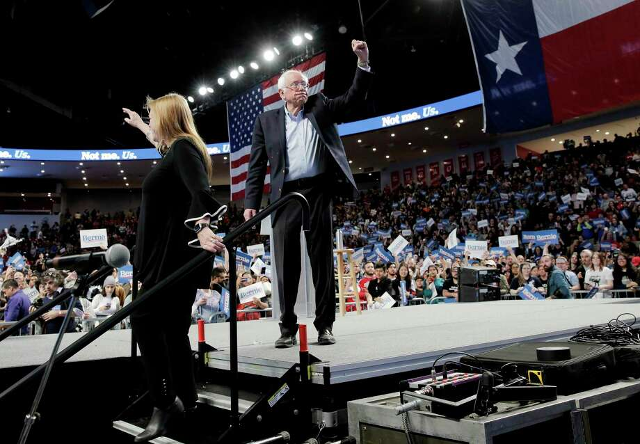 Democratic primary presidential candidate Bernie Sanders and his wife, Jane, at a recent rally in Houston. Don't discount his candidacy. There is a yearning for real change in this country. Photo: Elizabeth Conley /Staff Photographer / © 2020 Houston Chronicle