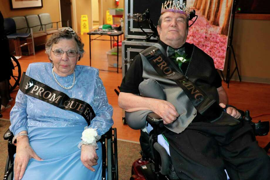 """Spectrum Health Rehabilitation and Nursing Centerresidents Eleanor Eichenberg and Duane Hurst were drawn queen and king at the """"senior"""" prom on Saturday. (Courtesy photo)"""
