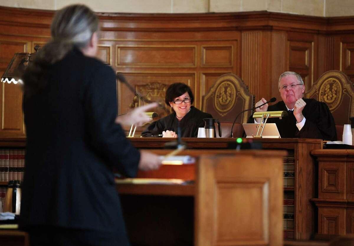 From left; Norm Pattis, defense attorney for Fotis Dulos, argues to strike down the gag order imposed in the case in front of the Connecticut State Supreme Court including justices Maria Kahn and Gregory D'Auria in Hartford, Conn. on Thursday, December 12, 2019.