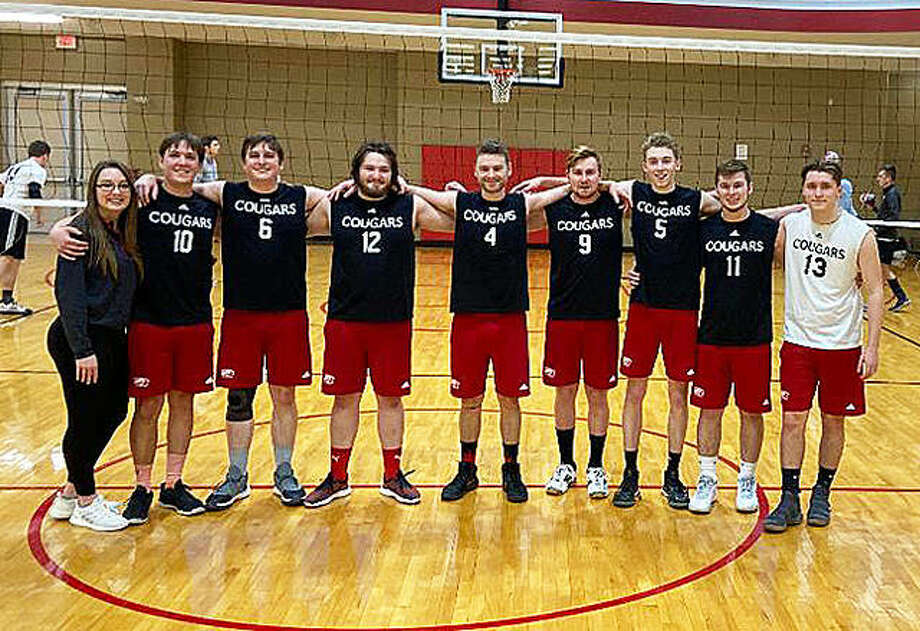 Members of the SIUE men's club volleyball team include, left to right, manager Tia Biggs, Tommy Hartnagel, Griffin Skubish, Will Bode, Nathan Woolverton, Joseph Rickert, Nick Allen, Joe Brammeier and Austin Rockel. Hartnagel, Bode, Woolverton, Allen and Brammeier are all graduates of Edwardsville High School. Photo: For The Intelligencer