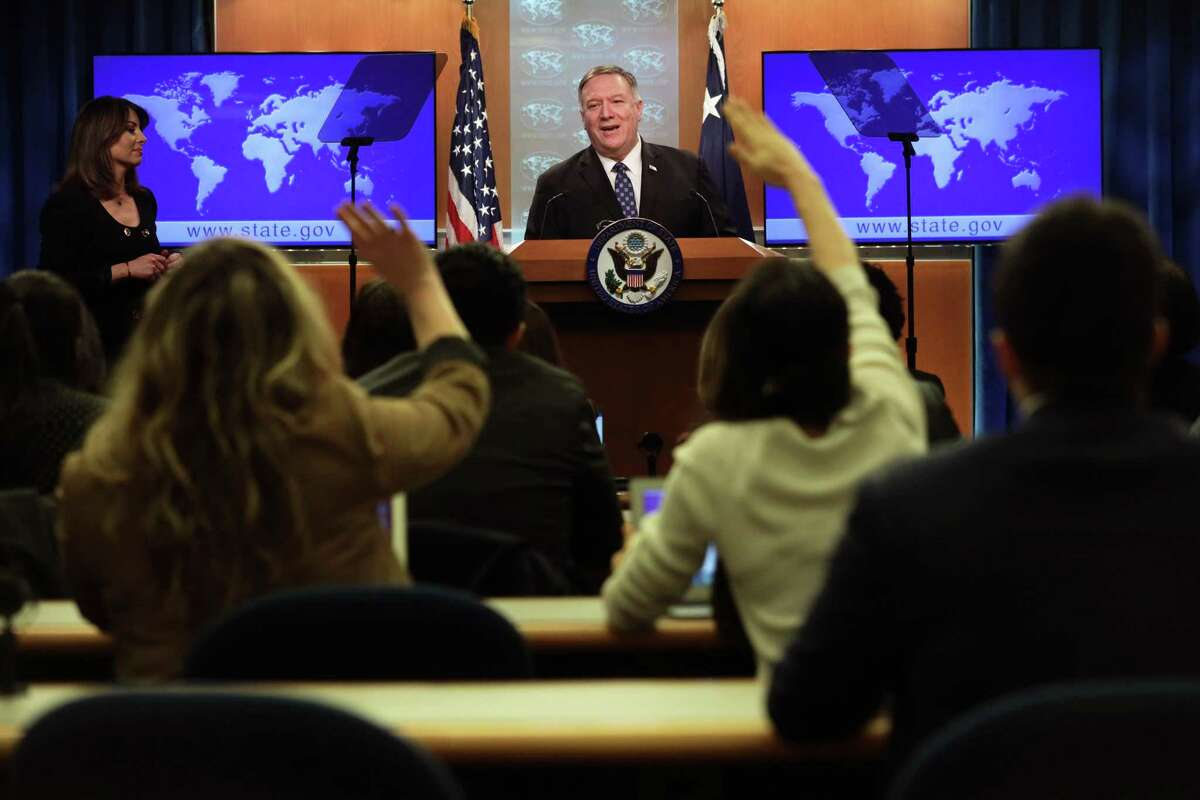 WASHINGTON, DC - FEBRUARY 25: U.S. Secretary of State Mike Pompeo speaks during a news briefing at the State Department February 25, 2020 in Washington, DC. Secretary Pompeo discussed various topics including the coronavirus outbreak and the peace talks in Afghanistan. (Photo by Alex Wong/Getty Images)