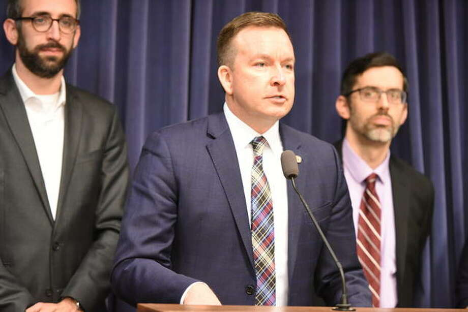 State Sen. Andy Manar, D-Bunker Hill, discusses House Bill 3493 that he and state Rep. Will Guzzardi, D-Chicago, have introduced which would create the Prescription Drug Affordability Board to review data on drug prices and set new payment limits for state-regulated plans.