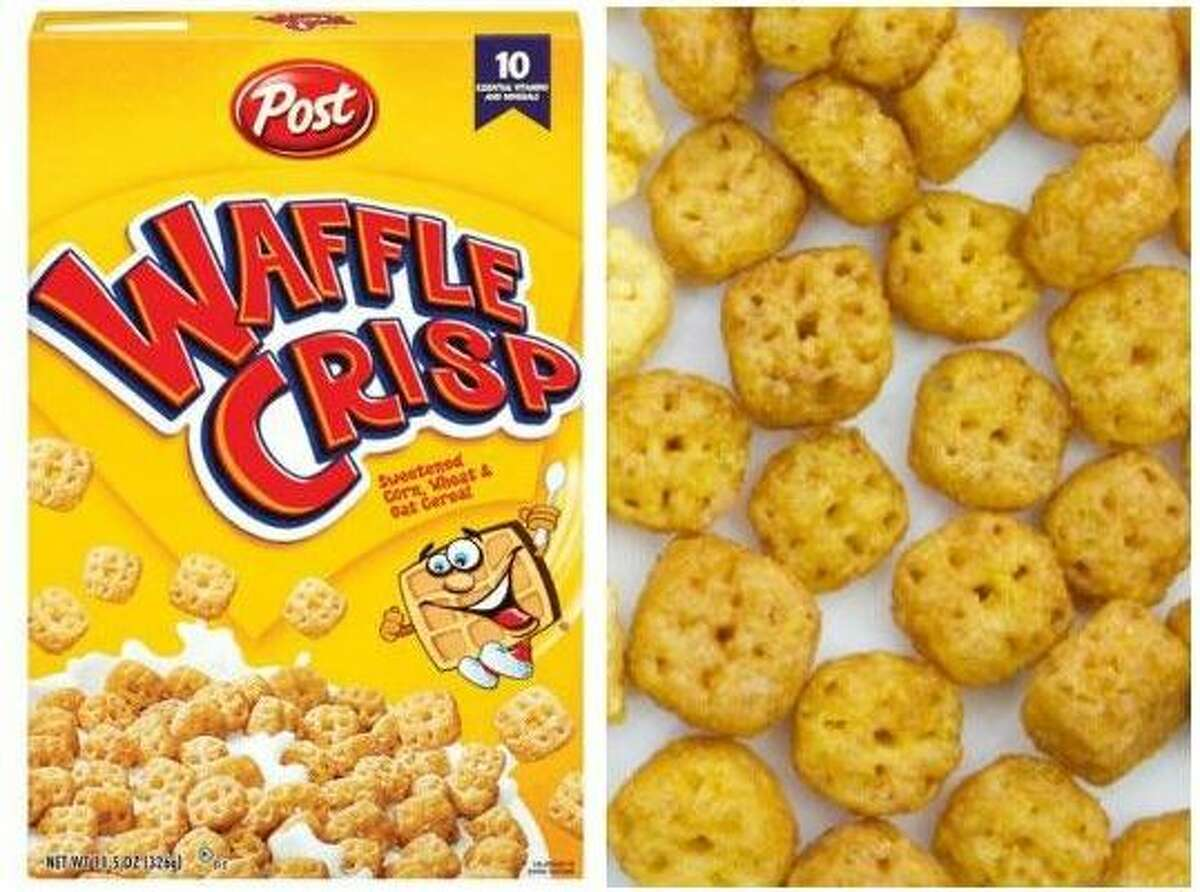 """2. Waffle Crisps: This maple flavored cereal was every 90s kids favorite breakfast, because it tasted just like a plate of waffles covered in sticky maple syrup. Launched by Post in 1996, the waffle-cereal hybrid was miniature waffle shaped to really drive the theme home. The beloved product was reintroduced by Post in 2013 under the name """"Waffle Crunch"""" and was discontinued in 2018."""