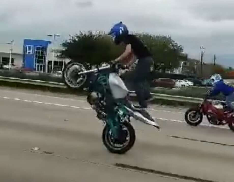 Several motorcyclists caught on video performing dangerous stunts on a Houston freeway this past weekend. Photo: Fidencio De Leon Jr.