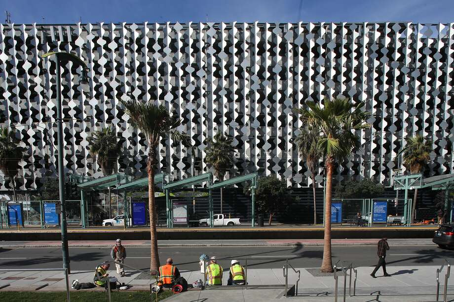 The shimmering Cellular Origami screen on the UCSF parking garage on Third Street in Mission Bay is seen from the Chase Center, where the Warriors play. Photo: Liz Hafalia / The Chronicle