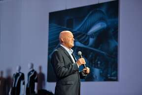 """Bob Chapek announces changes to Epcot and the name, Avengers Campus, as the title of the upcoming Marvel-themed land during a media preview at the D23 Expo in Anaheim, CA, on Thursday, Aug. 22, 2019.""""n(Photo by Jeff Gritchen/MediaNews Group/Orange County Register via Getty Images)"""